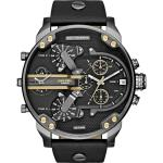 Diesel Mens Mr. Daddy Black Leather Quartz Watch