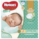 Huggies Ultimate Newborn Nappies Up To 5kg Size 1 bulk pack 54pk