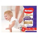 Huggies Ultimate Nappy Pants Nappies Size 4 10-15kgs jumbo pack 56pk