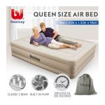 Bestway Air Bed Inflatable Blow Up Mattress Queen Size w/Built-in Pump & Travel
