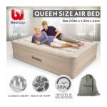 Bestway Air Bed Inflatable Queen Blow Up Mattress w/Built-in Pump & Travel Bag