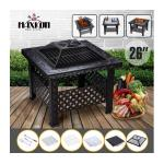 Maxkon 26&quote; Fire Pit 3-in-1 Fireplace Brazier Heater Grill Shelf