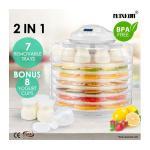 Maxkon 2-IN -1 Food Dehydrator Fruit Jerky Dryer Yogurt Maker White-7 Trays