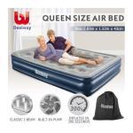 Bestway Queen Flocked Air Bed 43cm Inflatable Blow Up Mattress w/Built-in Pillow & Pump