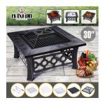 Maxkon 30&quote; Fire Pit 3-in-1 Patio Fireplace Brazier Grill Shelf