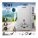Maxkon 10 in 1 520L/Hr Portable Outdoor Gas Instant Shower Hot Water Heater-Silver