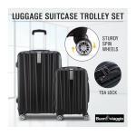 2Pc Hard Shell Luggage Suitcase Set-Black With TSA Lock Lightweight