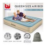 Bestway Queen Air Bed 43cm Inflatable Blow Up Mattress w/Built-in Pillow & Pump