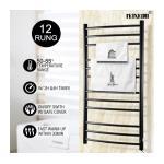 Maxkon 12 Bars Heated Towel Rail Warmer Electric Bathroom Drying Rack w/ Timer