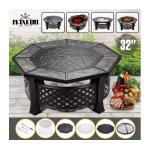 Maxkon 32&quote; Fire Pit 4-in-1 Patio Fireplace Brazier Grill Shelf