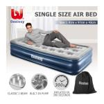 Bestway Single Flocked Air Bed 43cm Inflatable Blow Up Mattress w/Built-in Pillow & Pump