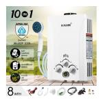 Maxkon 10 in 1 550L/Hr Portable Outdoor Gas LPG Instant Shower Water Heater - White