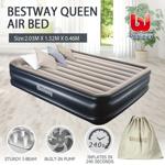 Bestway Queen Inflatable Flocked Mattress Tritech Airbed Built-in AC Pump & Pillow 203 x 152 x 46cm 67630