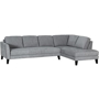 Parker Fabric Right Chaise Lounge Suite - Light Grey