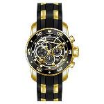Invicta Mens Pro Diver Gold Rubber Quartz Fashion Watch