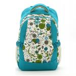 Travel Backpack Nappy Bag,with Insulated 3 Bottle Pocket (Blue Printing Floral)
