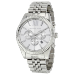 Michael Kors Lexington Chronograph Dial Stainless Steel 45mm Men\'s Silver Watch MK8405