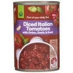 Countdown Tomatoes Diced Basil Garlic & Onion can 400g