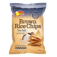 Sun Rice Brown Rice Chips Rice Snacks Sea Salt & Olive Oil 156g