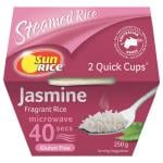 SunRice Quick Cups 40 Seconds Rice Dish Fragrant Jasmine Rice 250g cups 2pk
