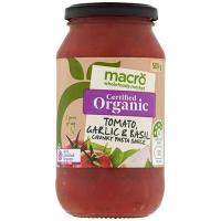 Macro Organic Pasta Sauce Tomato, Garlic & Basil 500g