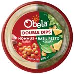 Obela Classic Hommus + Basil Pesto & Cashew Double Dips 240g