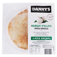 Danny's Pita Bread Plain Garlic 4pk