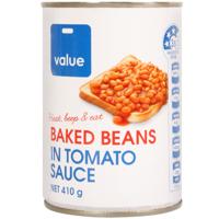 Value Baked Beans in Tomato Sauce 410g