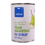 Value Pear Quarters In Syrup 410g