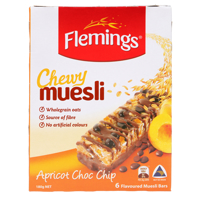 Flemings Apricot Choc Chip Chewy Muesli Bar 6pk