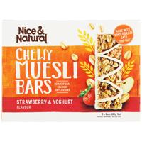 Nice & Natural Strawberry Yoghurt Chewy Muesli Bars 6pk