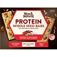 Nice & Natural Coconut & Goji Berry Dark Chocolate Whole Seed Protein Bars 5pk