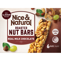 Nice & Natural Real Milk Chocolate Roasted Nut Bars 6pk