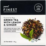 Pams Finest Green Tea With lemon Ginger Pryamid Tea Bags 20ea
