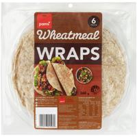 Pams Wheatmeal Wraps 6ea