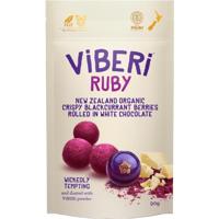 Viberi Ruby New Zealand Organic Crispy Blackcurrant Berries Rolled In White Chocolate 90g