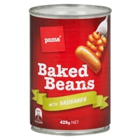 Pams Baked Beans With Sausages 425g