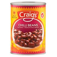 Craigs Chilli Beans In A Mild - Medium Chilli Sauce 425g