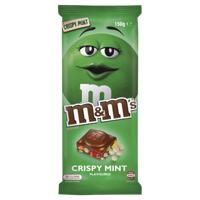 M&M's Crispy Mint Flavoured Chocolate Block 150g