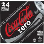 Coca Cola Zero Soft Drink Cans 24pk