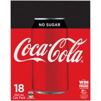 Coca Cola No Sugar Soft Drink Cans 18pk
