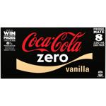 Coca Cola Zero No Sugar Vanilla Soft Drink Cans 8pk