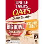 Uncle Tobys Oats Quick Creamy Honey Big Bowl Sachets 10pk