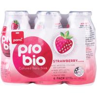 Pams Strawberry Pro Bio Cultured Dairy Drink 6pk