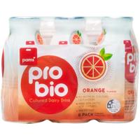 Pams Orange Pro Bio Cultured Dairy Drink 6pk