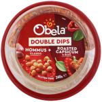 Obela Classic Hommus & Roasted Red Capsicum & Basil Double Dips 240g