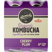 Remedy Organic  Kombucha Cherry Plum  4 x 250ml