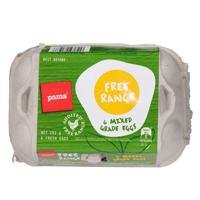 Pams Free Range Mixed Grade Eggs 6ea