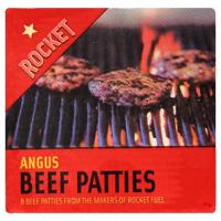 Rocket Angus Frozen Beef Patties 8 Pack 800g