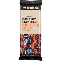 Trade Aid Organic Fair Trade 70% Salt Toffee Crisp Chocolate Block 100g